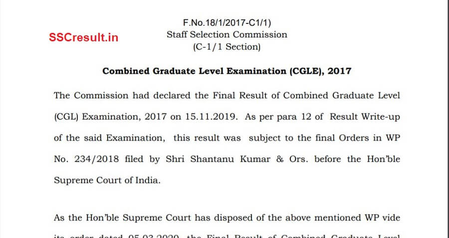 Hon'ble Supreme Court of India Order regarding SSC CGL and CHSL 2017
