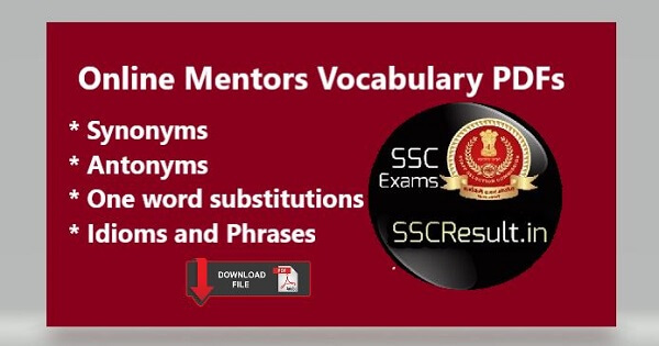 Free Download Online Mentors Vocabulary for SSC CGL PDF