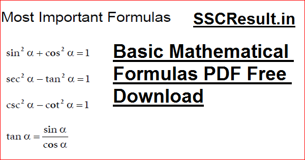 Basic Mathematical Formulas PDF Free Download