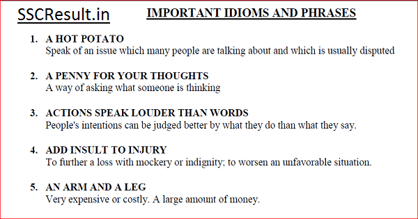 Idioms and Phrases For Competitive Exams PDF Download