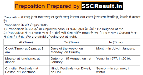 Preposition List PDF Download for All Competitive Exams
