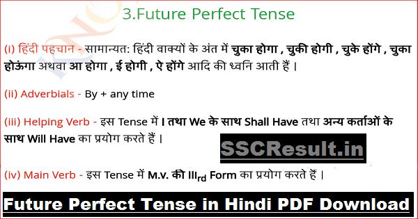 Future Perfect Tense in Hindi PDF Download