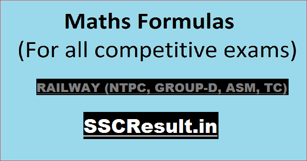 Math Formula in Hindi PDF Download for Railway Exams