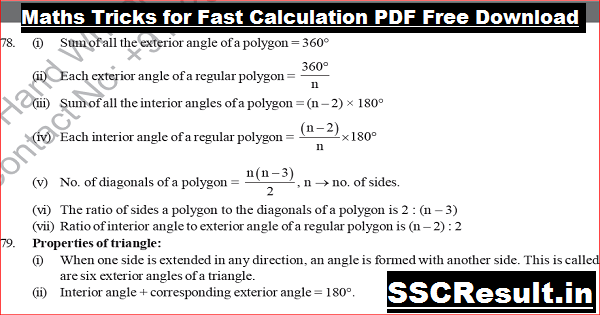 Maths Tricks for Fast Calculation PDF Free Download