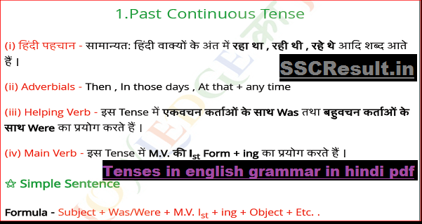 Past Continuous Tense in Hindi PDF Download for SSC