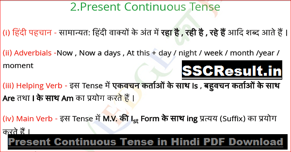 Present Continuous Tense in Hindi PDF Download