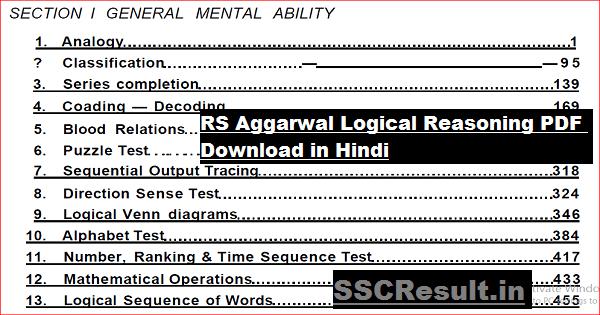 RS Aggarwal Logical Reasoning PDF Download in Hindi