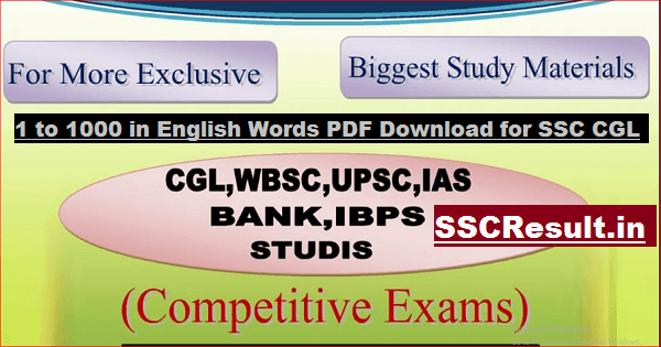 1 to 1000 in English Words PDF Download for SSC CGL