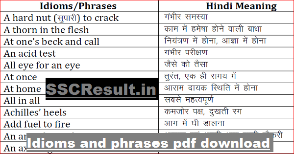 English Phrases PDF Free Download for SSC CGL