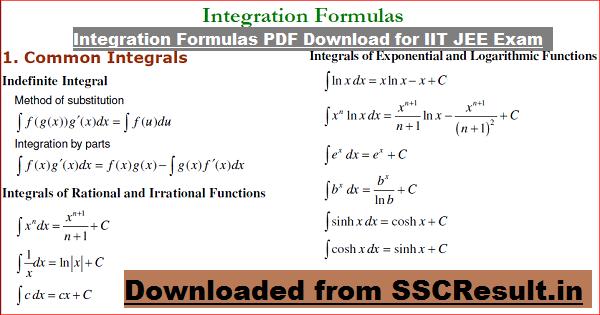 Integration Formulas PDF Download for IIT JEE Exam