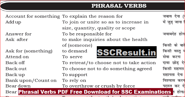Phrasal Verbs PDF Free Download for SSC Examinations