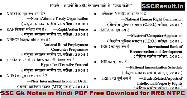 SSC Gk Notes in Hindi PDF Free Download for RRB NTPC