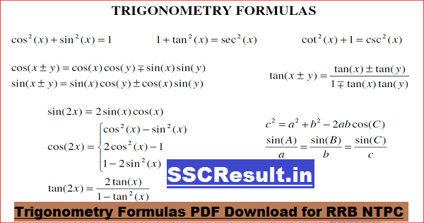 Trigonometry Formulas PDF Download for RRB NTPC