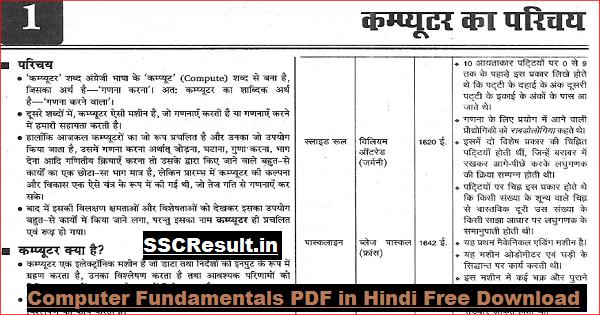 Computer Fundamentals PDF in Hindi Free Download