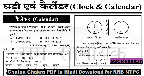 Ghatna Chakra PDF in Hindi Download for RRB NTPC