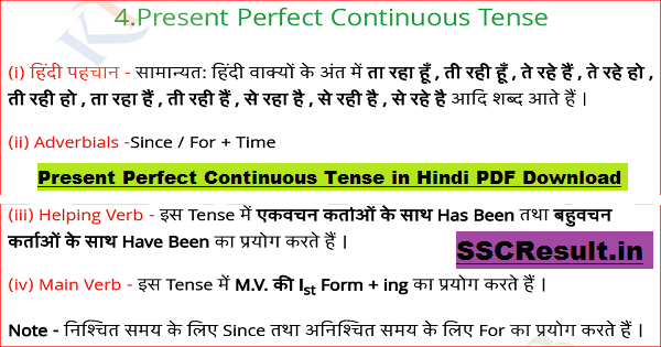 Present Perfect Continuous Tense in Hindi PDF Download