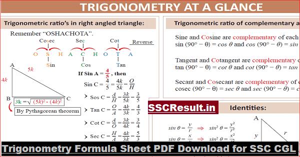 Trigonometry Formula Sheet PDF Download for SSC CGL