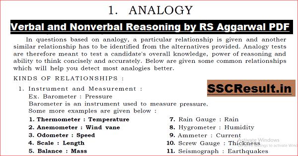 Verbal and Nonverbal Reasoning by RS Aggarwal PDF