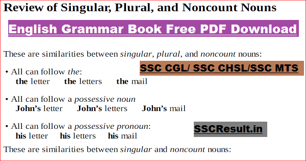 English Grammar Book Free PDF Download for SSC Exams