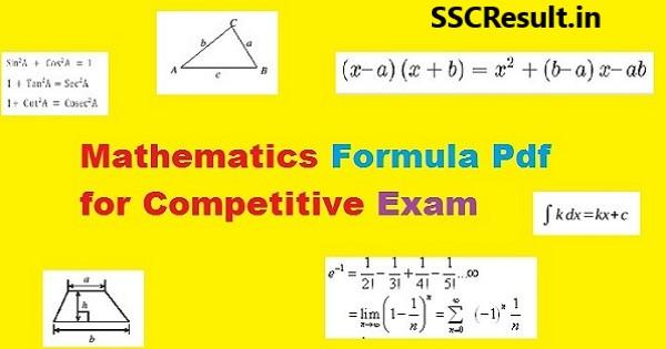Mathematics formula pdf for competitive exam
