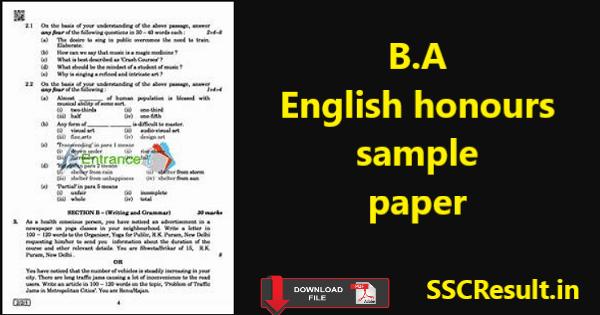Ba english honours sample papers pdf