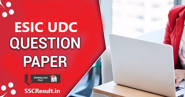 Esic udc question paper