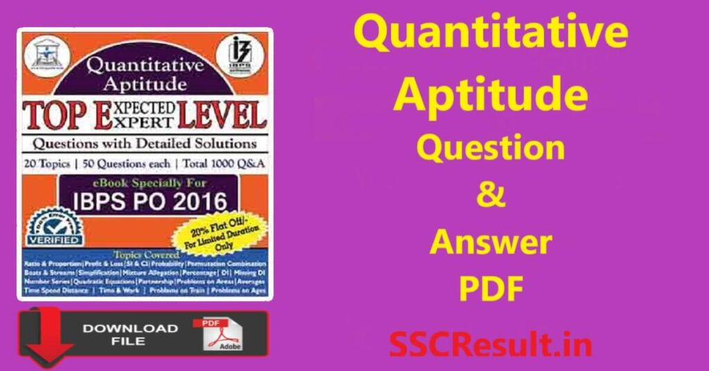 Mathematical aptitude questions and answers pdf