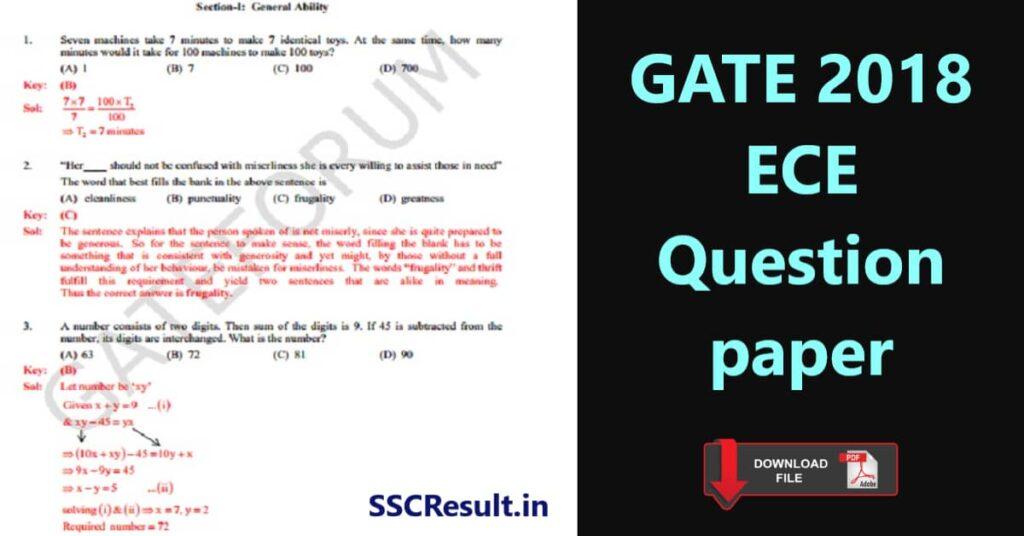GATE 2018 ece question paper