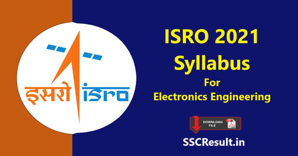 ISRO 2021 Syllabus For Electronics Engineering